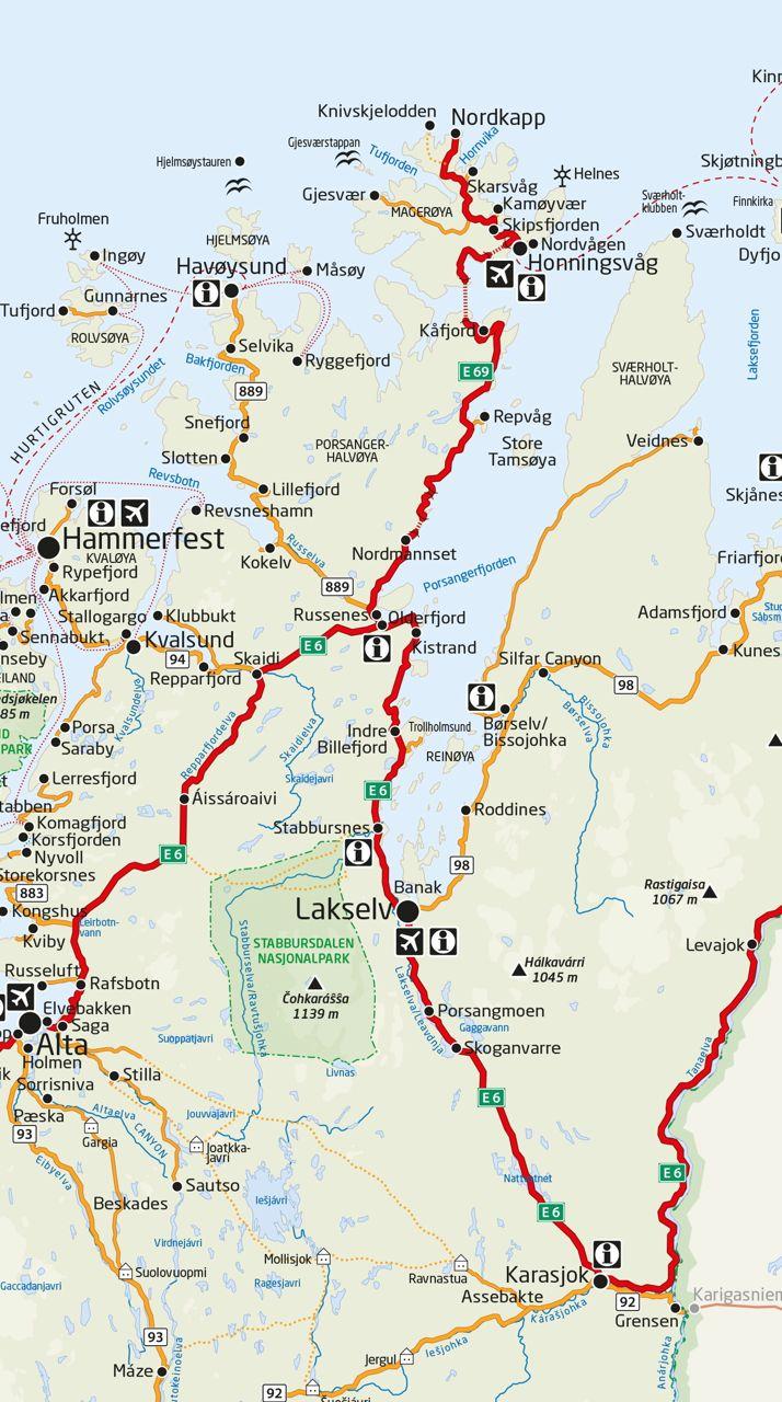 Nordkapp Veien Til Nordkapp Kart Map Travel Finnmark