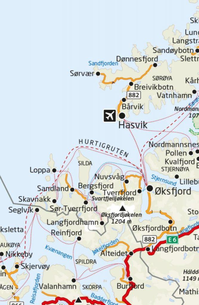 Kystveien Mot Nordvest Kart The Coastal Road Towards Northwest